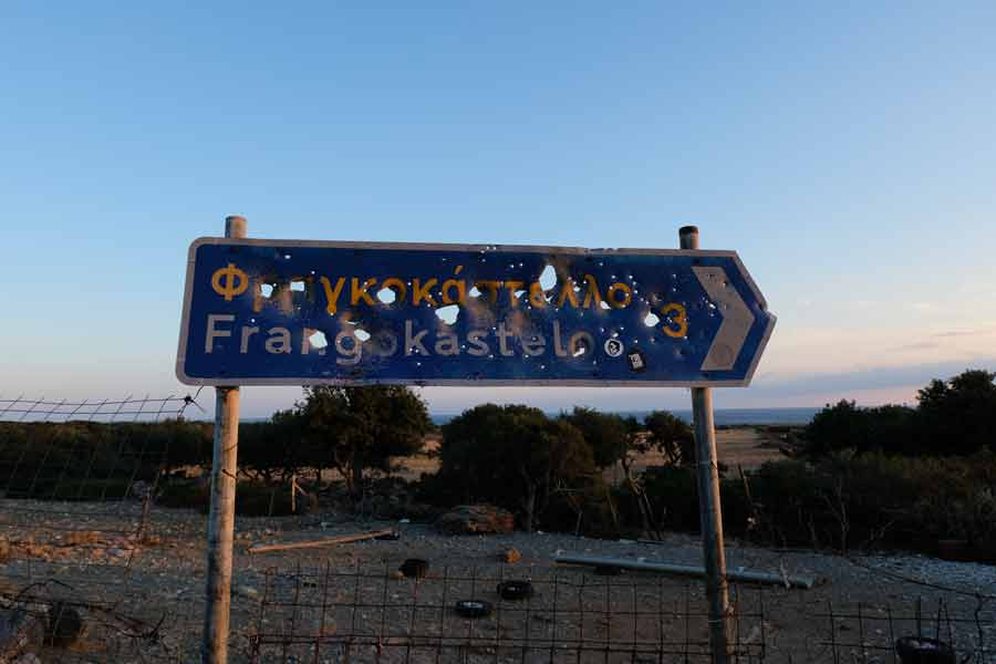 Ortsschild auf Kreta sfakia